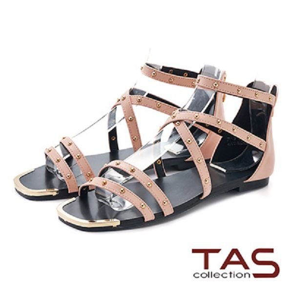 TAS羅馬風小圓鉚釘繫帶後包涼鞋-浪漫粉