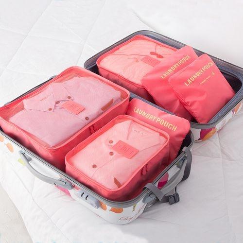 旅行收納袋六件套裝 衣服衣物分裝袋 行李箱收納打包整理袋