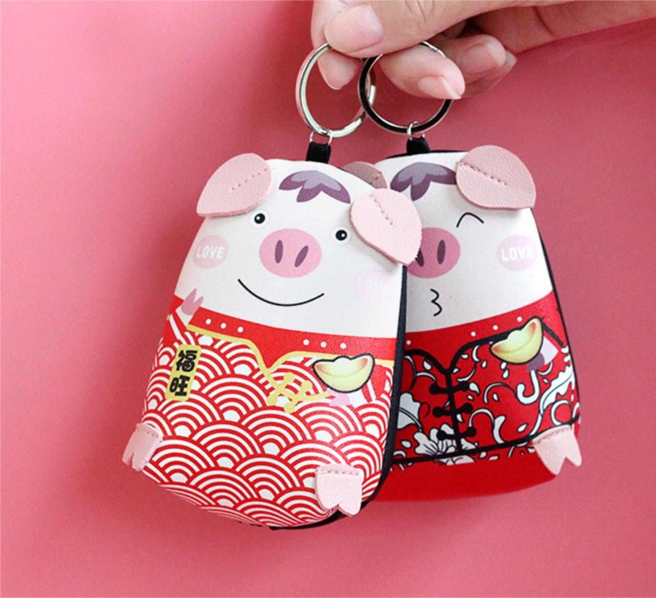 新年吉祥 福氣小豬零錢包 PU材質 防水耐髒 鑰匙包 小錢包