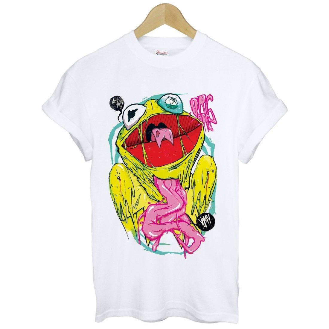 Kermit Frog Hello短袖T恤-白色青蛙插畫塗鴉設計衝浪滑板街頭刺青裸女設計插畫潮流相片照片390