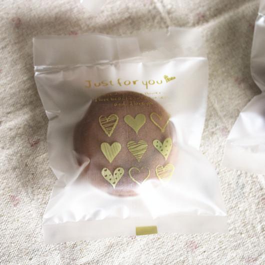 95入 金色愛心半透明 磨砂餅乾袋 需用封口機封口 平口袋 月餅袋 食品級 包裝袋