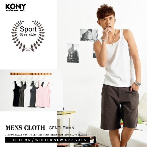 KONY【VV1002】《MIT台灣製☆素面細肩帶大U領1*1棉質羅紋背心》陽光型男運動健身風99元