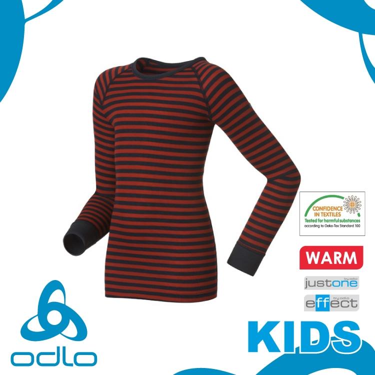 【ODLO 瑞士 童 長袖排汗內衣《深藍/紅條》】10459/保暖透氣/抗寒/排汗內衣