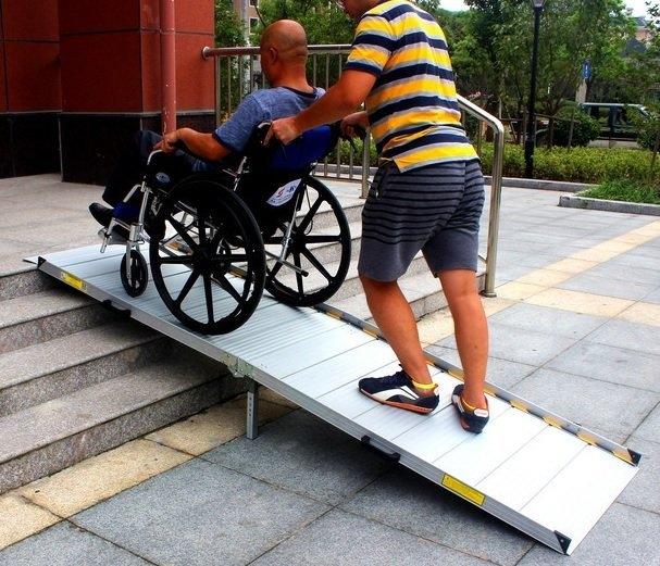 鋁輪椅梯-輪椅爬梯專用斜坡板BH294 x 75CM輪椅重機搬貨上下樓梯登車板無障礙