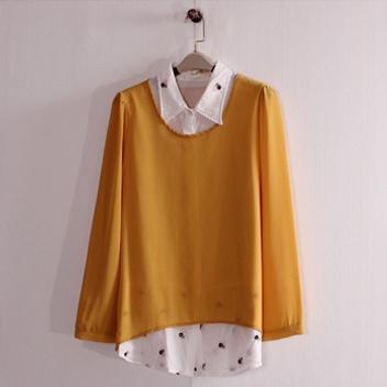 假兩件 刺繡襯衫拼接純色長袖上衣(黑  藍  黃)三色售 11612002