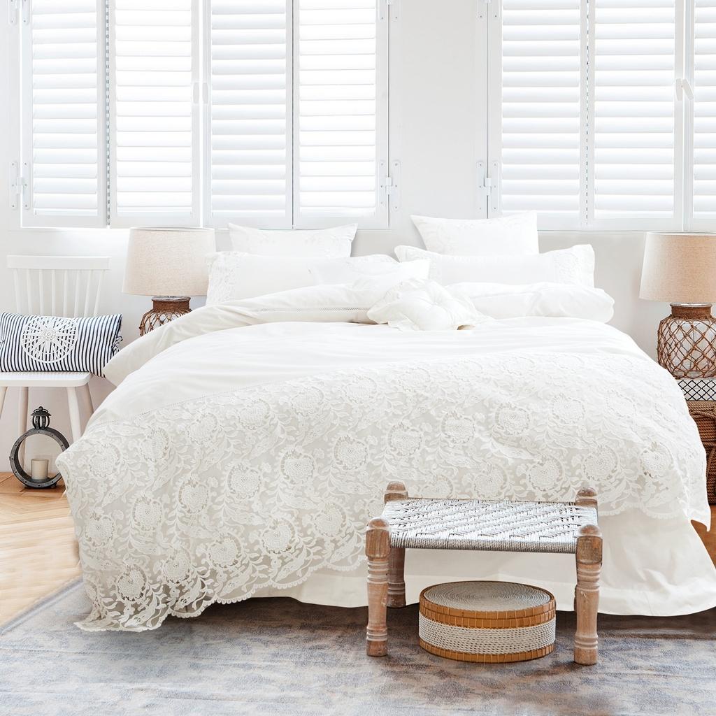 加大雙人床包組蕾絲床包宮庭風雙人床包組北歐簡約風純棉床包枕套被套床包ikea床單佛你