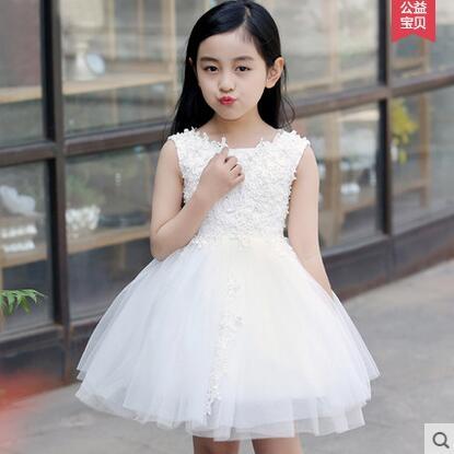 兒童禮服女童公主裙夏花童禮服女童婚紗裙蓬蓬裙演出表演服裝