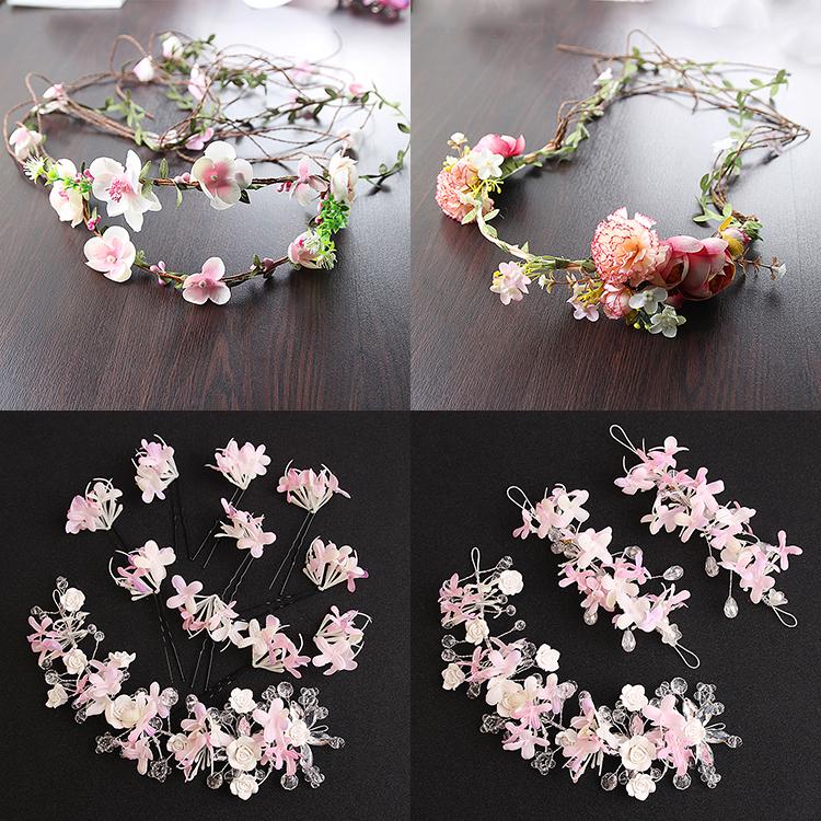韓式新娘頭飾甜美手工粉紫白色碎花朵仙子蝶戀花新款婚紗禮服配飾【印象閣樓】