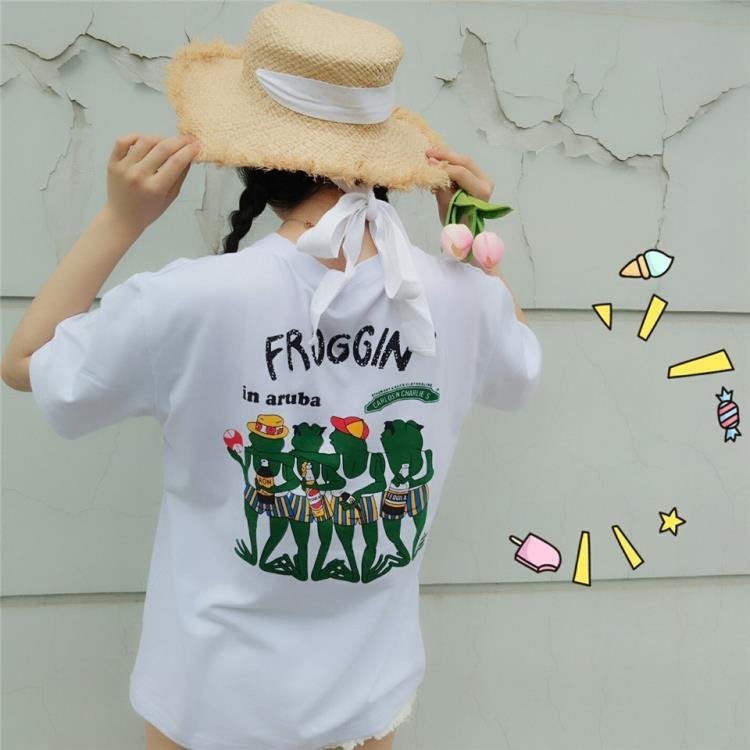 超豐國際夏裝小新清軟妹短袖T恤女學生童趣青蛙字母印花上衣1入