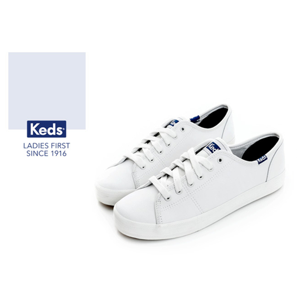 Keds時尚運動系列START基本綁帶皮質休閒鞋-白73W132222