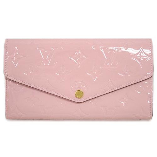 茱麗葉精品全新精品Louis Vuitton LV M61227 Sarah Vernis皮革壓花發財包扣式長夾.粉紅預購