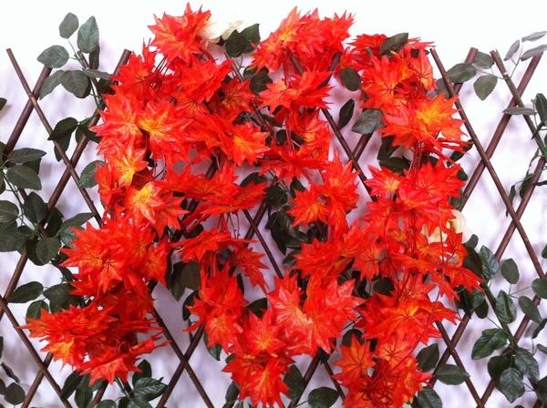 仿真花藤條紅楓葉假花塑料花花藤壁掛假樹葉植物藤條室內裝飾(紅美楓)─預購CH975
