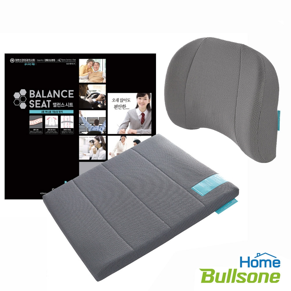 【Bullsone 超值組】蜂巢凝膠腰椎靠墊+M號蜂巢凝膠坐墊