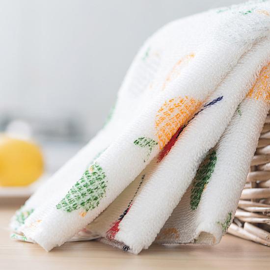 MY COLOR可掛飾木纖維印花抹布吸水防油廚房加厚洗碗桌面清潔乾淨N143