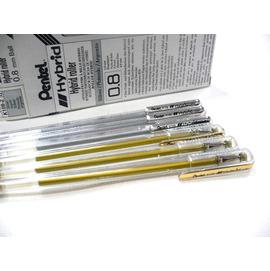 【Pentel飛龍】K108  0.8mm 金  銀  白  中性筆    / 支