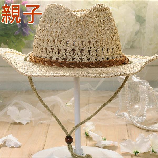 新款兒童草帽韓版潮男寶寶遮陽帽夏寬簷男童帽親子帽牛仔帽
