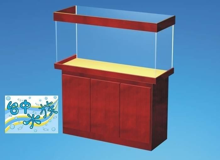 台中水族加厚4*2*H2尺8mm強化缸貼皮塑合板三門架特價訂製品