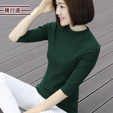 情侶裝圓領7分短袖T恤男女寬鬆小清新條紋七分袖ღ部落男裝ღ