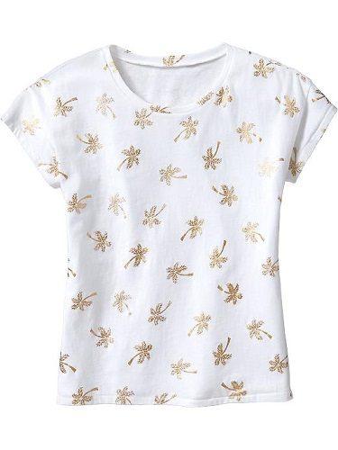 OldNavy短袖上衣  金色葉子圖案白色設計款T恤 S號 (Final sale)