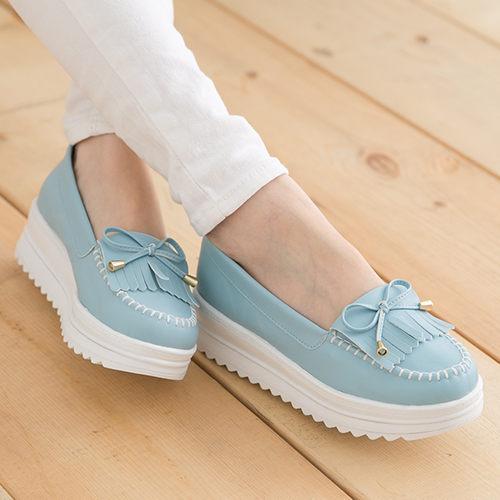 女款韓系流蘇厚底莫卡辛厚底鞋鬆糕鞋MIT製造淺藍色59鞋廊