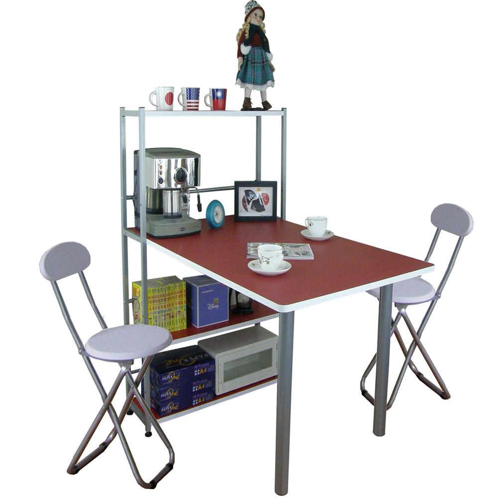 台灣製-深80x寬120公分1桌2椅4層置物架型餐桌椅吧台桌椅書桌椅組-紅白色TB80120T4C2-RW