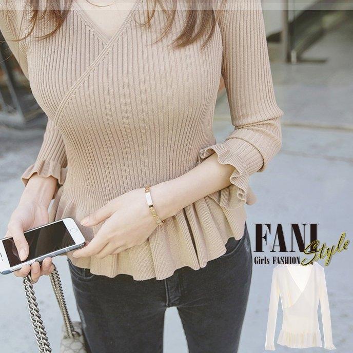 方妮FaNi韓版羅文針織傘狀遮小腹深V低胸上衣韓國外套孕婦小洋裝可內搭褲長版T