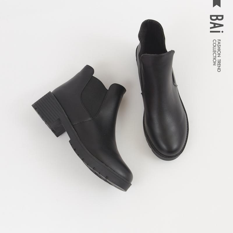 短靴 皮革車線拼接側鬆緊短筒靴37-40號-BAi白媽媽【199024】