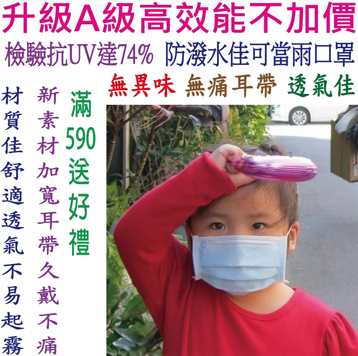 兒童口罩 防曬口罩 附檢驗報告【台灣製-抗UV三層不織布口罩】(A級高效能)@兒童-藍色@無異味