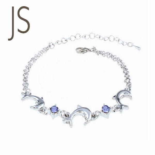 手鏈【JS精心苑】韓版手飾 多色水晶海豚手鏈水鑽腳鏈/飾品/配件/水鑽/手環/手鏈
