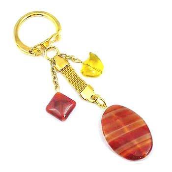 條紋紅瑪瑙與黃水晶元寶鑰匙圈