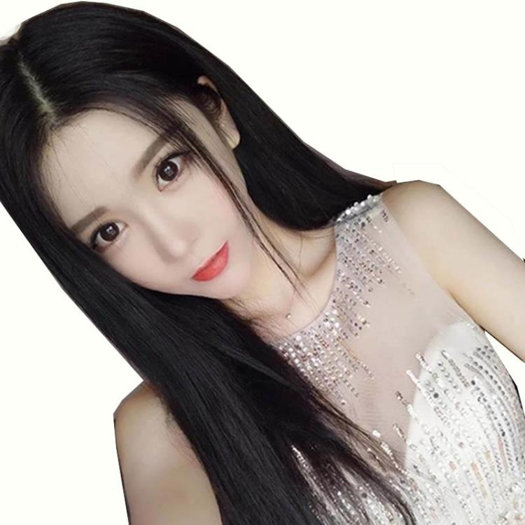 假髪女長直髪中分劉海長髪齊腰黑色自然逼真中長髪全頭套