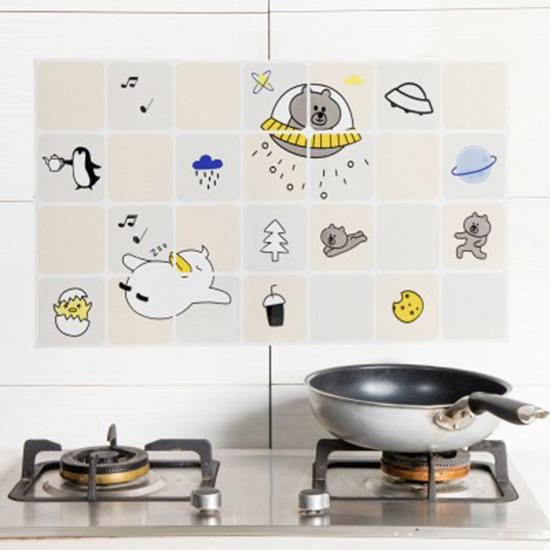 生活家精品M181印花卡通防油壁貼自黏耐高溫防油污貼紙家用灶台磁磚牆貼