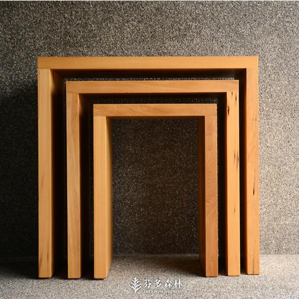 紅檜三層套桌台灣檜木原木傢俱實木家具木製壁桌玄關桌高低桌床邊桌芬多森林