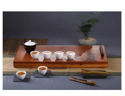 幸福居*整塊花梨木茶盤茶具套裝陶瓷幹泡功夫茶具茶海幹泡台簡約茶盤套裝1首圖款8件套