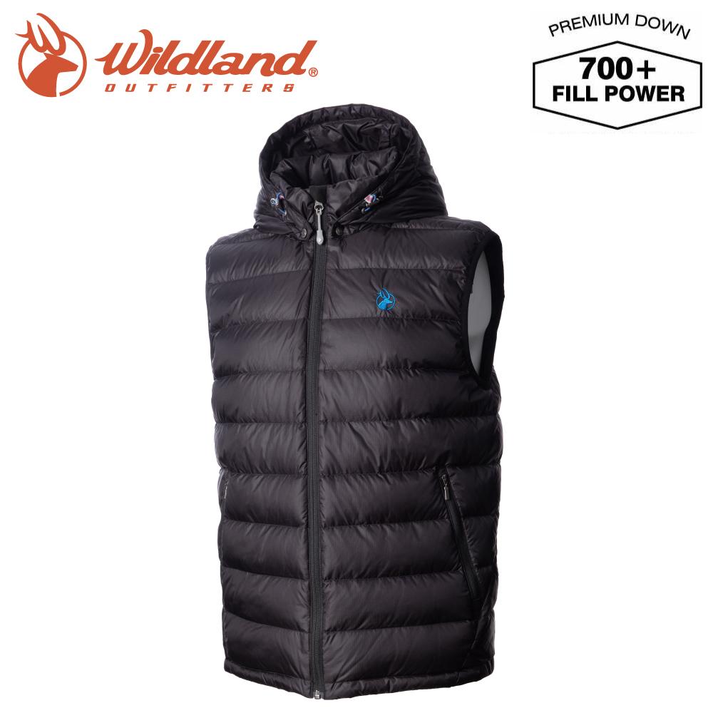【Wildland 荒野 男 700FP拆帽極暖鵝絨背心《亮黑》】0A72172/輕量羽絨背心/保暖背心/防風禦寒