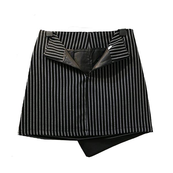 下擺不規則條紋短裙   條紋款