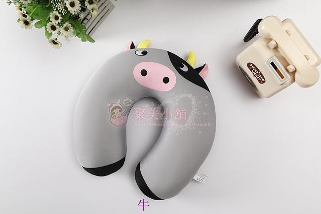 卡通 牛 造型U型枕  奈米微粒(粒子) 午睡枕 護頸枕 車用靠枕 U型枕頭 抱枕 【聚美小舖】