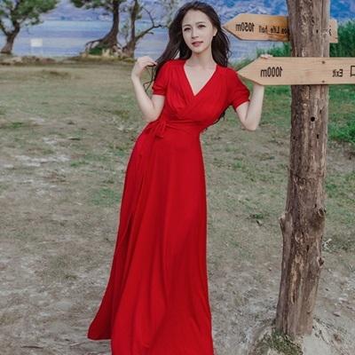 長洋裝 波西米亞風-大擺前開岔優雅渡假風女連身裙2色73mw22[巴黎精品]