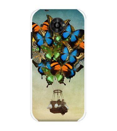 ♥ 俏魔女美人館 ♥ HTC Desire 601 dual /6160 {蝴蝶氣球*水晶硬殼} 手機殼 手機套 保護殼