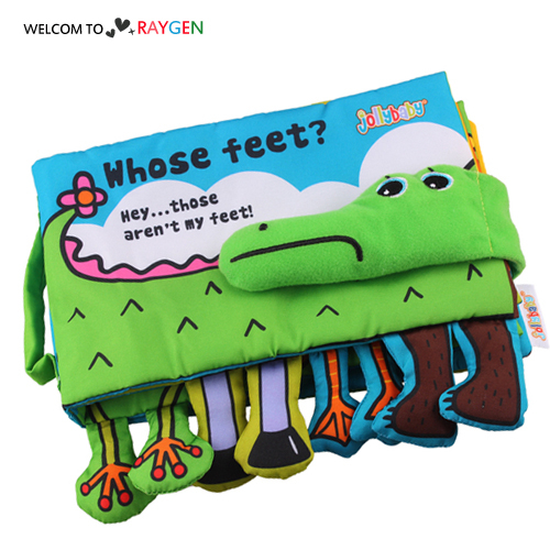 認識動物鱷魚布書響紙益智早教玩具