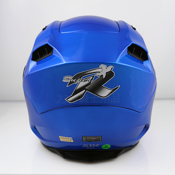 SBK SUPER-R-PLUS素色亮藍雙層鏡片3 4半罩安全帽內襯全可拆免運費