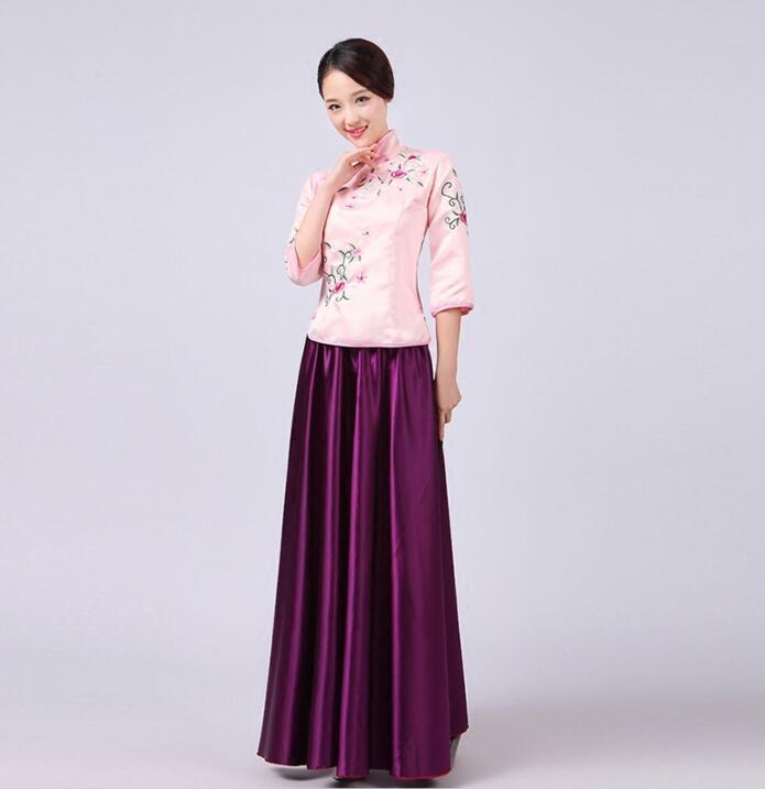 熊孩子民國古裝中式秀禾伴娘服姐妹伴娘團小姐裝古箏集體古典演出服紫色
