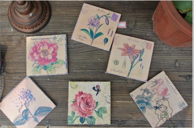 珍妮花園~木質手繪隔熱杯墊花卉款(一套6片,送木盒)