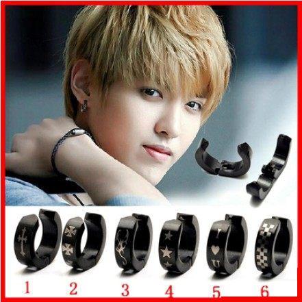 韓版明星同款黑色十字架無耳洞耳夾耳扣耳夾式耳環B1134