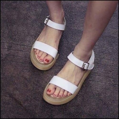5天出貨夏羅馬女士厚底真皮涼鞋女學生魚嘴鬆糕平底坡跟女鞋ifairies 23918