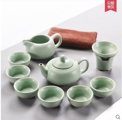 熙客開片汝窯茶具套裝全套汝瓷整套陶瓷功夫茶具套裝蓋碗茶杯茶壺