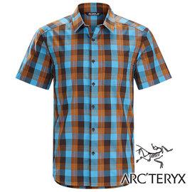 Arc'teryx始祖鳥Brohm透氣格子短袖襯衫男藍褐17217休閒襯衫商務襯衫吸濕排汗