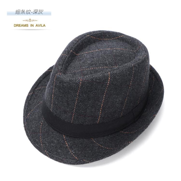 小禮帽男士英倫爵士帽女春秋季毛呢帽老人帽子ღ部落男裝ღ