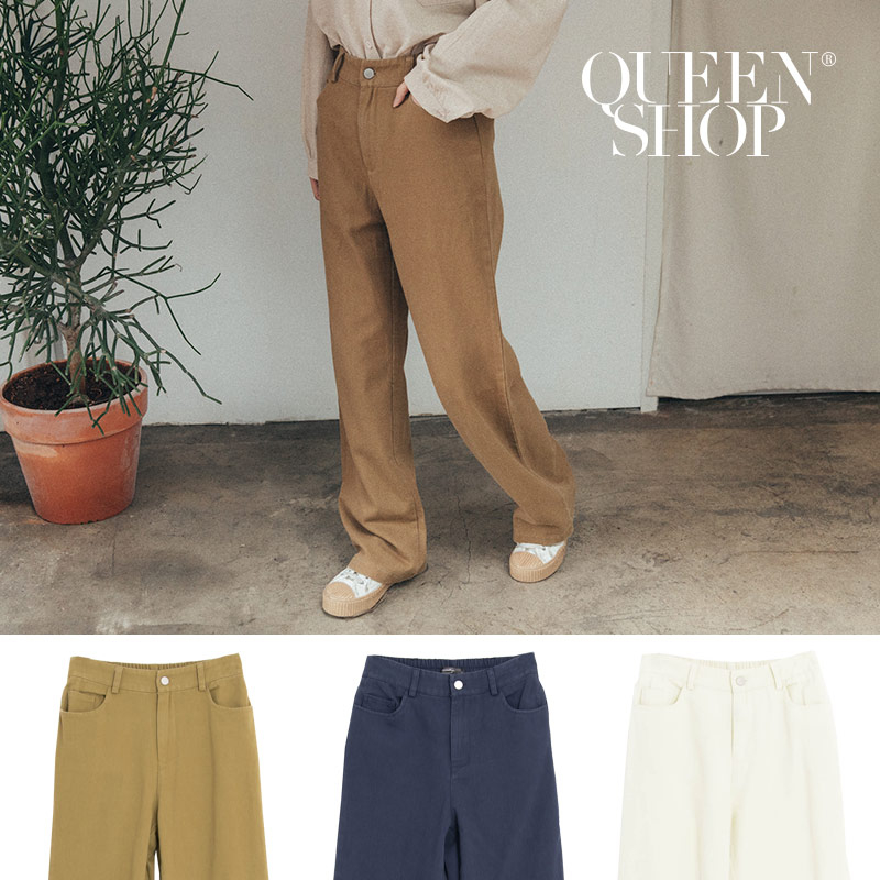 Queen Shop【04110234】素色百搭鬆緊寬褲 三色售 S/M/L/XL*現+預*