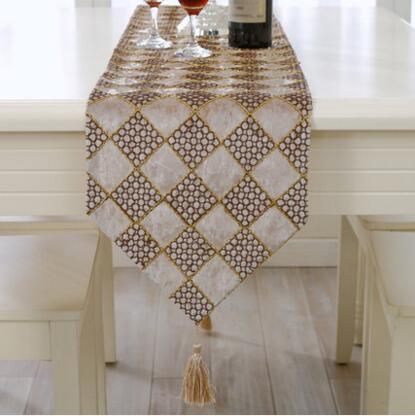 錦皓新款簡約現代桌旗時尚百搭格子絨布茶几布餐桌客廳桌布床尾巾(主圖款)